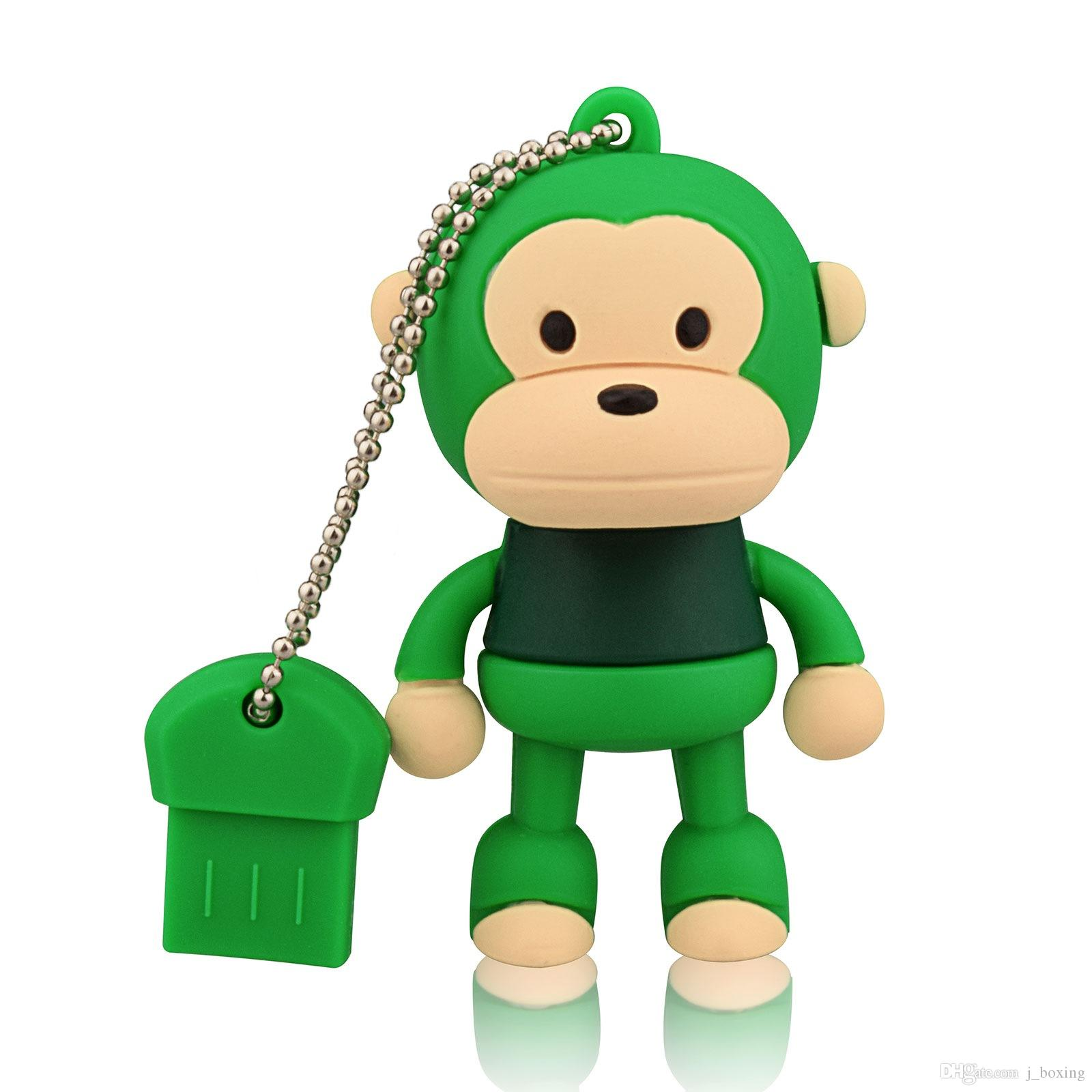 Green Cartoon Monkey Design 8GB 16GB 32GB 64GB USB Flash Drives Thumb Pen Drives USB 2.0 Memory Stick for Computer Laptop Tablet Pen Storage