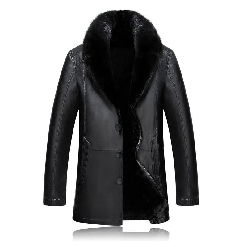 جديد أزياء الشتاء معطف الفرو رجل جلد سميك المنك الشعر طوق سترة عارضة واحدة اعتلى رجل جودة عالية زائد حجم 4xl