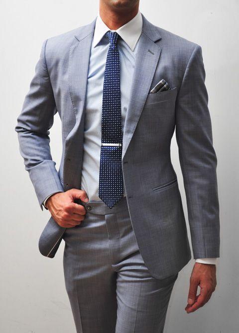 Light Grey Men Suits Slim Fit Groom Wear Tuxedos Groomsmen Back Vent Wedding Best Man Suit Formal Business Two-Piece Jacket+Pants