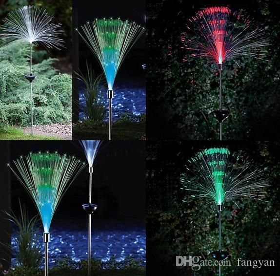 2 solar fiber lawn lights LED outdoor decorative lawn lights colorful color fiber optic lights