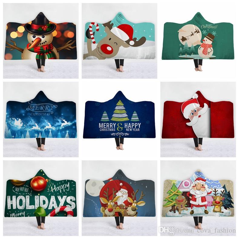 Styles de Noël Impression 3D Père Noël Bonhomme de neige capuche Cape Blanket Wrap Châle Confort Couverture de Noël avec le chapeau