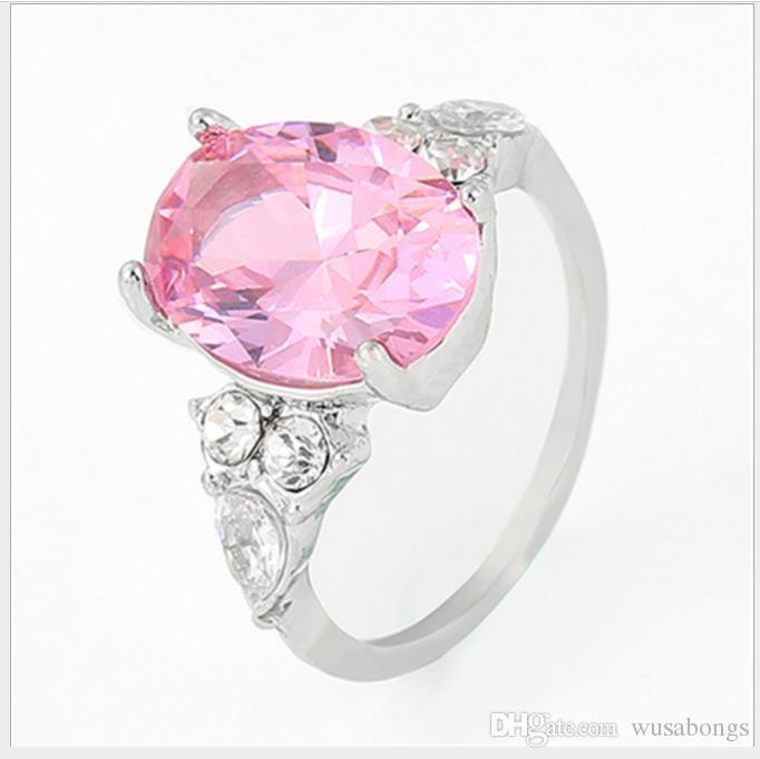 핑크 다이아몬드 크리스탈 공주 반지 유럽과 미국 거위 모양의 약혼 반지
