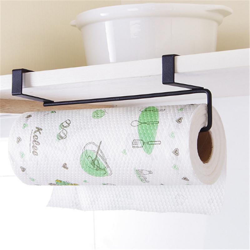 Kitchen Tissue Storage Holder Towel Rack Hook Holder Bathroom Shelf Hanging
