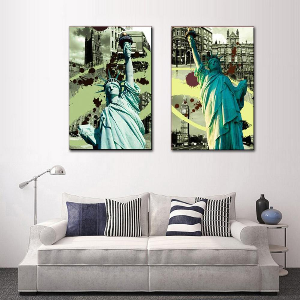 Bedroom Decorative Frameless Canvas Art Print Painting 2 Panels Nordic Portrait American Statue of Liberty Picture
