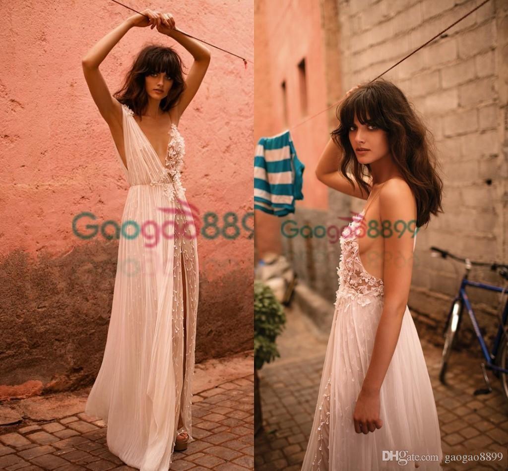 2019 Liz Martinez Sexy Boho Cheap Wedding Dresses Bridal Gowns V-Neck See-Through Chiffon Flower Pearls A-Line Vestido de Noiva Praia