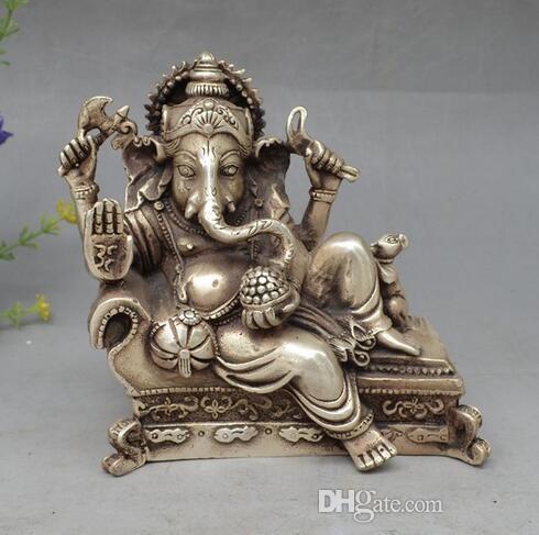 """6 """"suerte del Tíbet chino de Plata 4 Brazos Ganesh Elefante Mammon Buddha Mouse Statue S0706"""