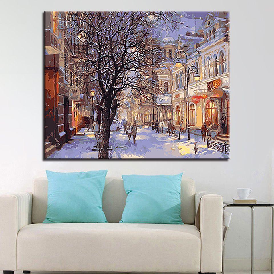 Pintura de bricolaje por números Paisaje de la calle de invierno DIY pintura acrílica sobre lienzo Imagen por números para decoraciones de hogar Regalo de arte