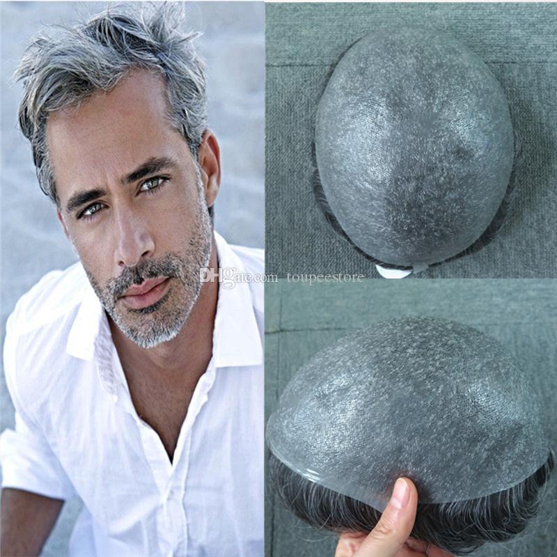 슈퍼 얇은 스킨 남성 Toupee 회색 머리 울트라 전체 Pu V 루프 Toupee 헤어 피스 남자 교체 시스템 인간의 머리카락 8x10inch 남자 헤어