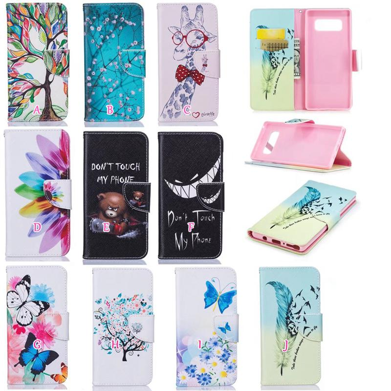 Panda Flower Leather Wallet Case For iPhone Xr Xs Max 6.1 6.5 Elephant Butterfly Owl Tree TPU Card Slot Flip Pouch Stylish Floral Soft Stand