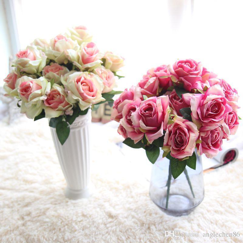 1 Bouquet Artificial Roses Fake Flowers Home Desktop Wedding Decorations White