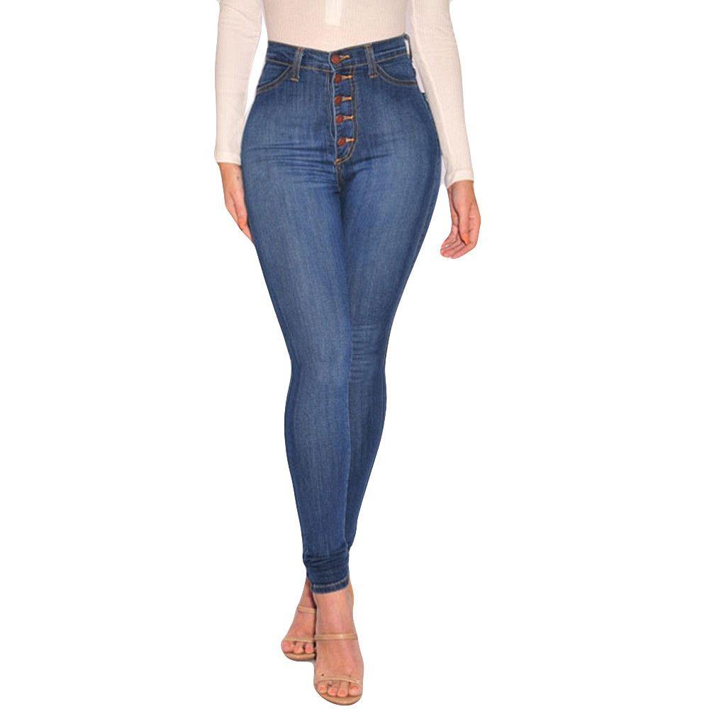 2020 موضة جديدة المرأة السامية مخصر نحيل الجينز تمتد سليم سروال العجل طول جينز عادية ملابس النساء قطرة شحن