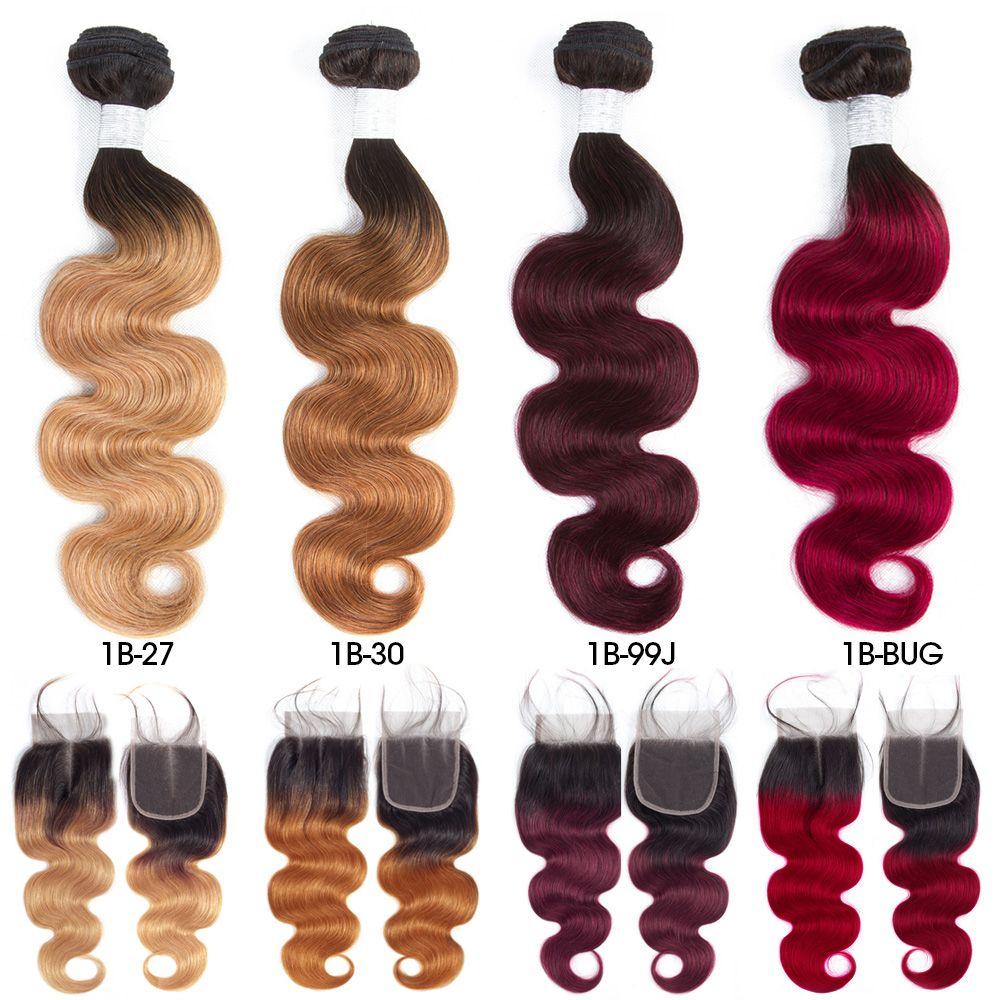 Pré-couleur Raw cheveux indiens 3 Bundles avec fermeture 1b / 27 Ombre T1B / 99J corps vague humaine Tissages Cheveux Bundles avec fermeture T1B / 30 T1B / BUG