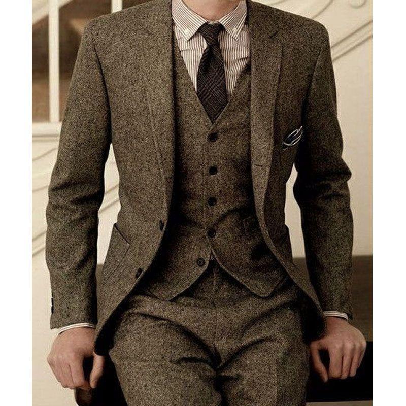 Tweed Men Garnitury dla ślubu Groom Tuxedos Notched Lapel Three Page Brazer Kamizelki Spodnie Najnowsza Kamizelka Kurtki