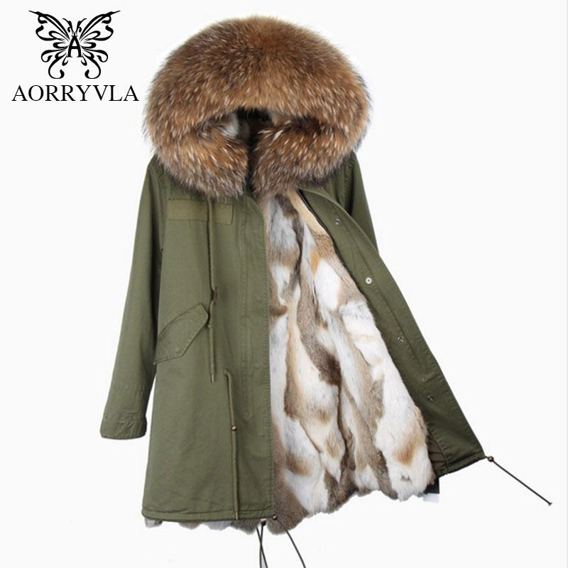 AORRYVLA 2017 New Winter Women's Real  Fur Parkas Large Raccoon Fur Collar Hooded With  Lining Long Coat