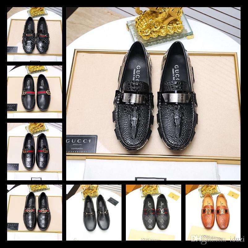 Los mejores zapatos de cuero para hombres, zapatos de vestir, zapatos de regalo, doug Metal Buckle Slip-on Famous brand man holgazanes holgazanes Zapatos Hombre 38-45