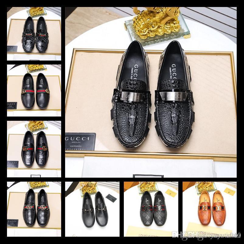 Лучшие кожаные мужчины досуг платье обувь часть подарок дуг обувь металлическая пряжка скольжения на известный бренд человек ленивый falts мокасины Zapatos Hombre 38-45