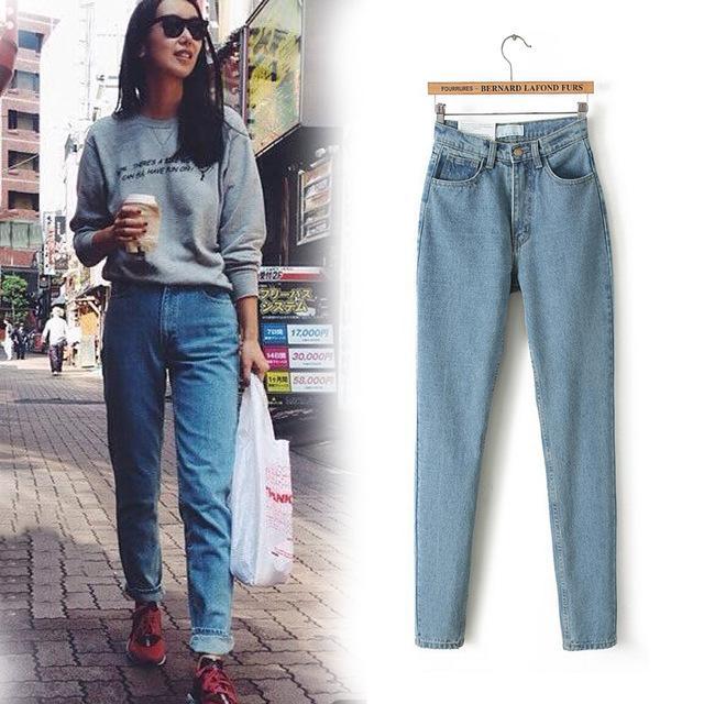 2017 Nova Magro Calças retas Jeans de Cintura Alta Do Vintage novo das mulheres jeans calças de comprimento total calças de cowboy soltas
