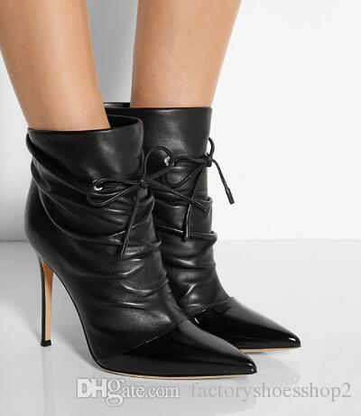Aiguille 2018 Bout Souples Dames Plus Chaussures Les Lacets Automne Noir Bottines Femmes La Bottes Chute Acheter Pour Taille Talon De165 03 Pointu orCxBedW