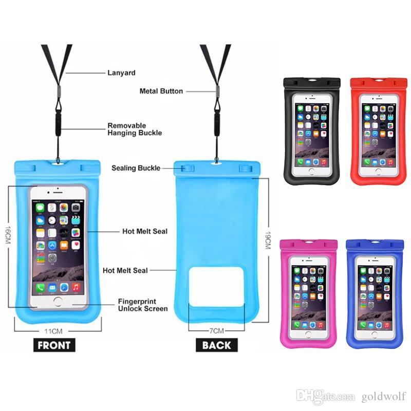 Impermeable al por mayor bolsa de bolsa seca transparente para el teléfono celular del bolso seco Iphone Plus 8 7 7P 6 pulgadas para el envío libre de la natación