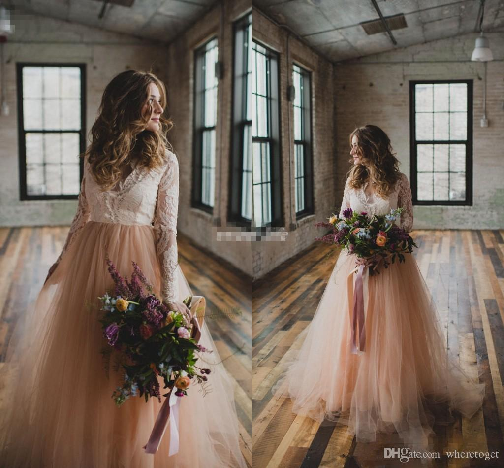 Modest Blush tulle skirt Ivory lace A line Beach Wedding Dresses long Sleeveless V neck country bohemian Wedding Bridal Gown 2019