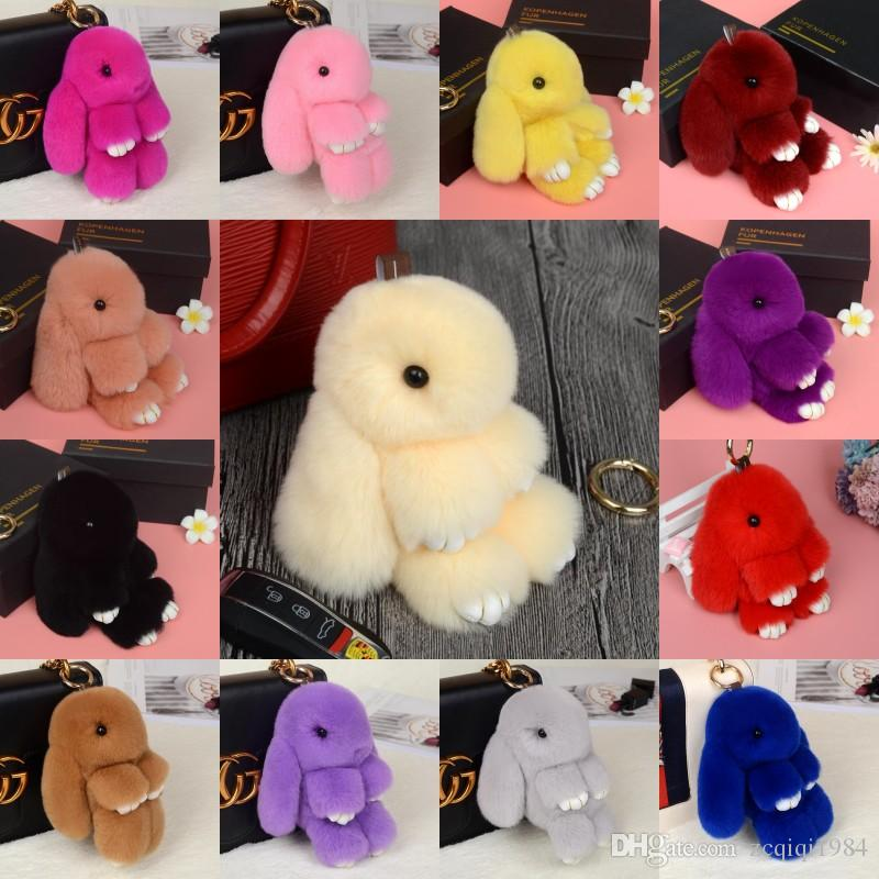 Portachiavi di pelliccia di coniglio colorato di Multy Colorful Portachiavi della catena chiave della decorazione della catena della moda della peluche della catena chiave del coniglio