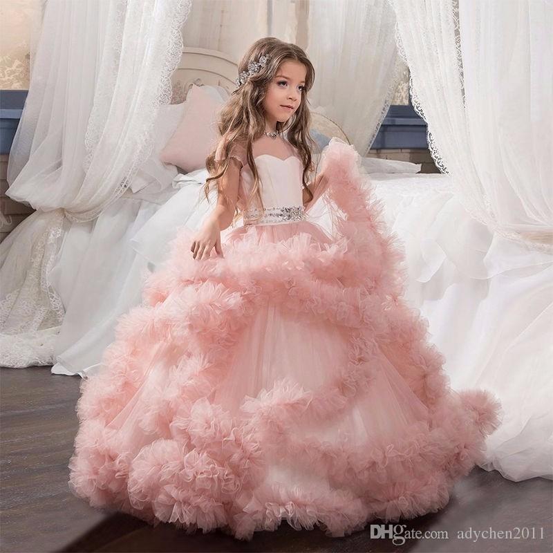 Festzug-Kleider Cloud Kleine Blumenmädchenkleider für Hochzeiten Baby Party Kleider sexy Kinder Bilder Kleid Kinder Abschlussball Abendkleider