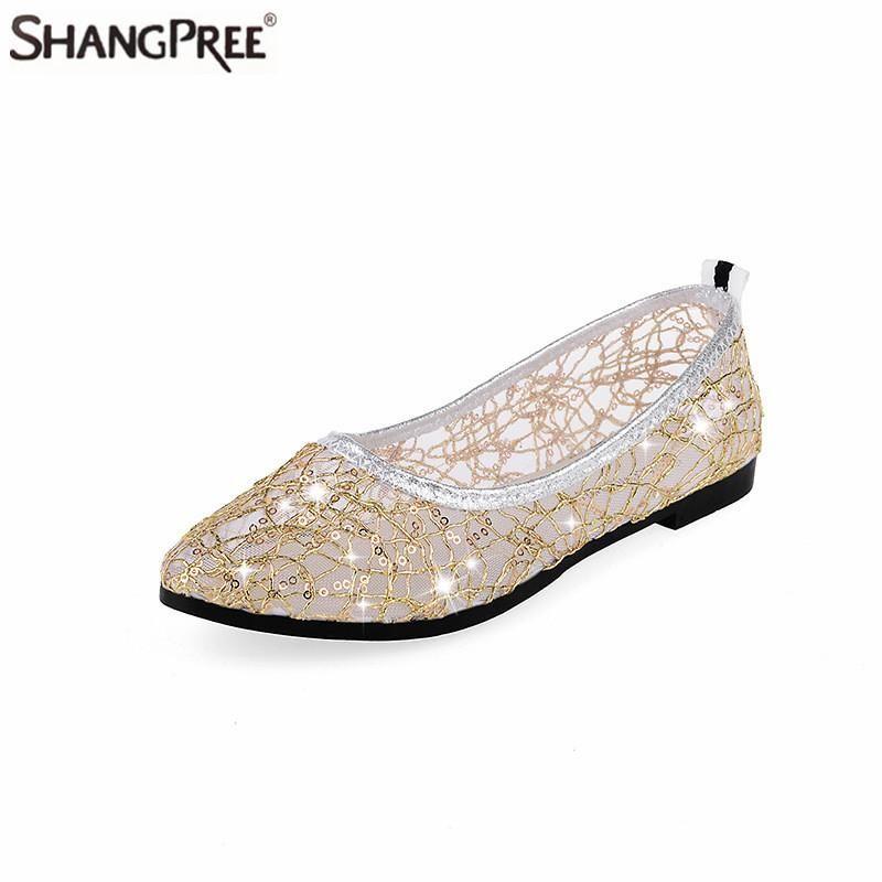 Nuove donne strass in pizzo Appartamenti traspiranti Scarpe per donna Estate Sandali caviglia Donna Comode scarpe basse casuali