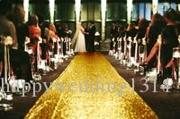 ShinyBeauty Gold-Sequin Aisle Runner-50FTX4FT,Glitter Sequin Wedding Aisles Floor Runner,Sparkly Carpet Runner, Shimmer Footcloth (Gold)
