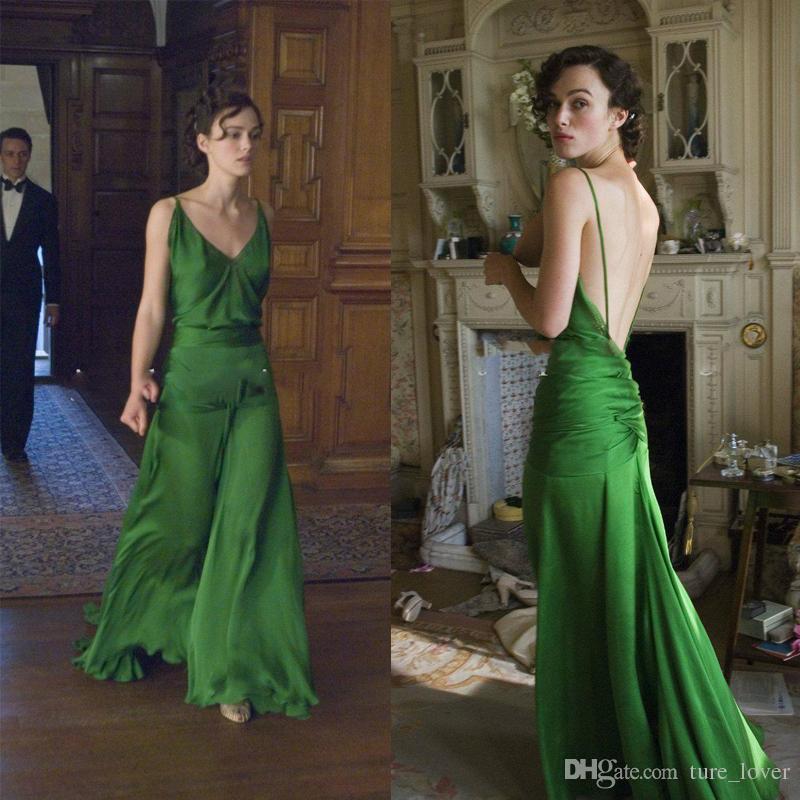 Vestidos de noche verdes hermosos en Keira Knightley De la película Atonement Diseñado por Jacqueline Durran Vestido largo de fiesta celebridad 2018