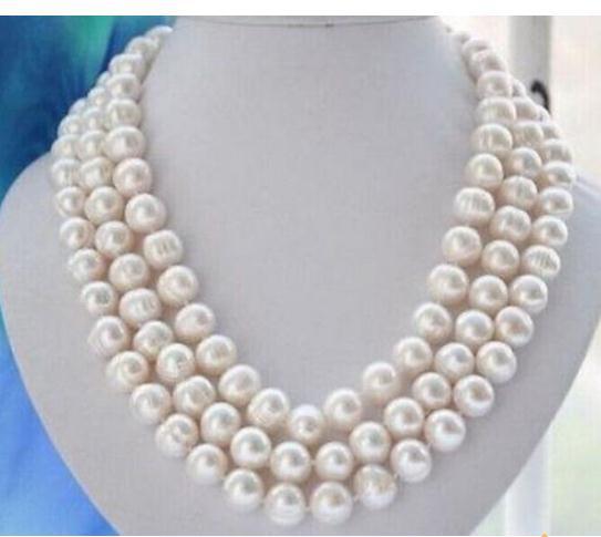 Тройной пряди 11-12 мм Южное море барокко белый жемчуг ожерелье 18 дюймов 19 дюймов 20 дюймов 925 серебряная застежка