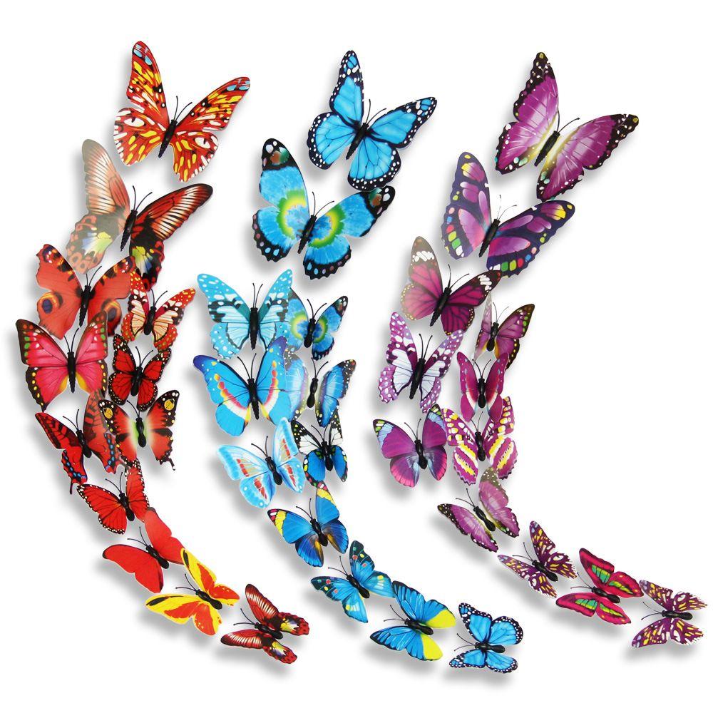 12 Pcs/Lot PVC 3D Magnet Butterfly Wall Stickers Butterflies Decors for Wedding Party Home Kitchen Fridge Decoration