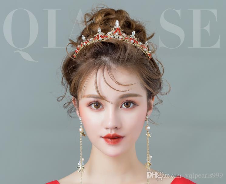 Bridal headwear 2018 new red hoop crown wedding dress dinner decorations