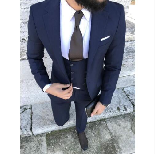 2018 новый темно-синий бизнес мужские костюмы свадьба жених 3 шт Slim Fit партии костюм платье Свадебные костюмы для мужчин блейзер смокинг