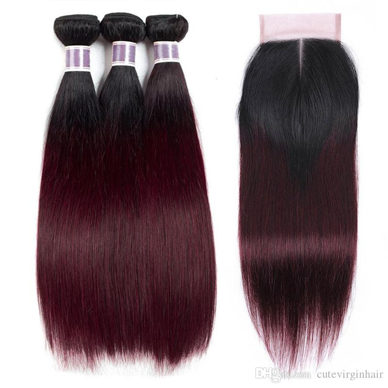 1B / 99J Rouge Foncé Ombre de Cheveux Humains 3 Faisceaux avec 4x4 Dentelle Fermeture Droite Brésilienne Cheveux Vierges Armure de Couleur Extensions de Cheveux 10-26 Pouce