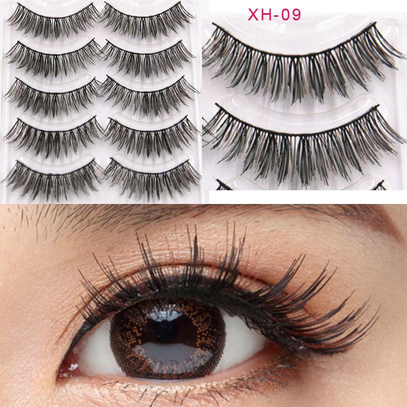 Hand Made Silk Eyelashes Full Strip Reusable Natural Soft Fake Eye Lashes Artificial human hair natural eyelashes extension false GR258