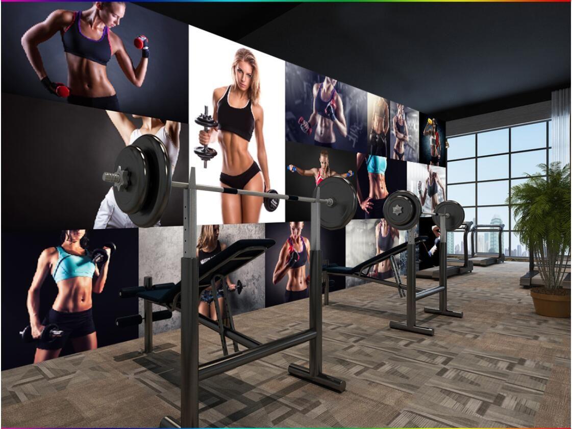 3 차원 벽지 사용자 지정 사진 벽화 크리 에이 티브 섹시한 아름다움 콜라주 체육관 아메리칸 벽화 툴링 벽화 벽 벽지 3D 가로 벽 태피스 트리 3D