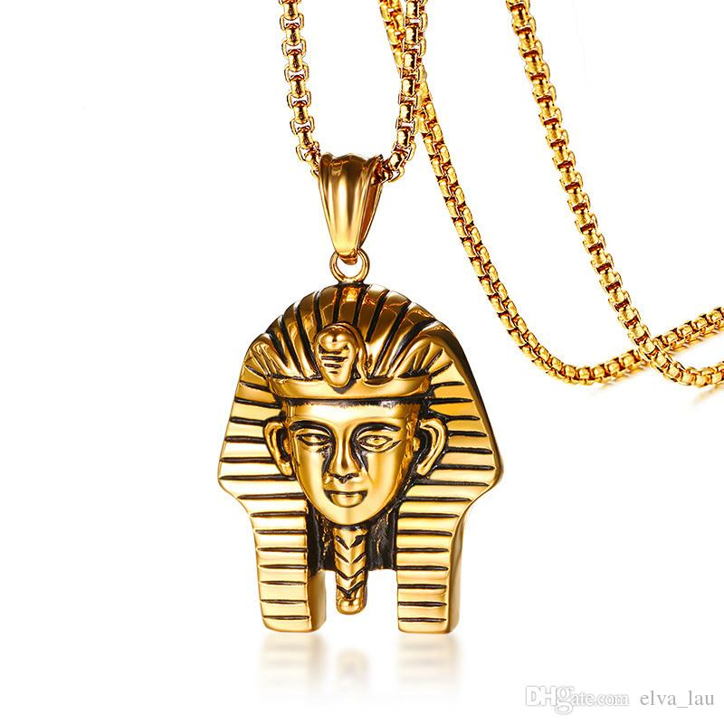 """Egyptian Pharaoh Pendant for Men Necklace Gold Color 24"""" Box Chain Stainless Steel Necklaces Male Jewelry Ancient Mystical Religious Jewelry"""
