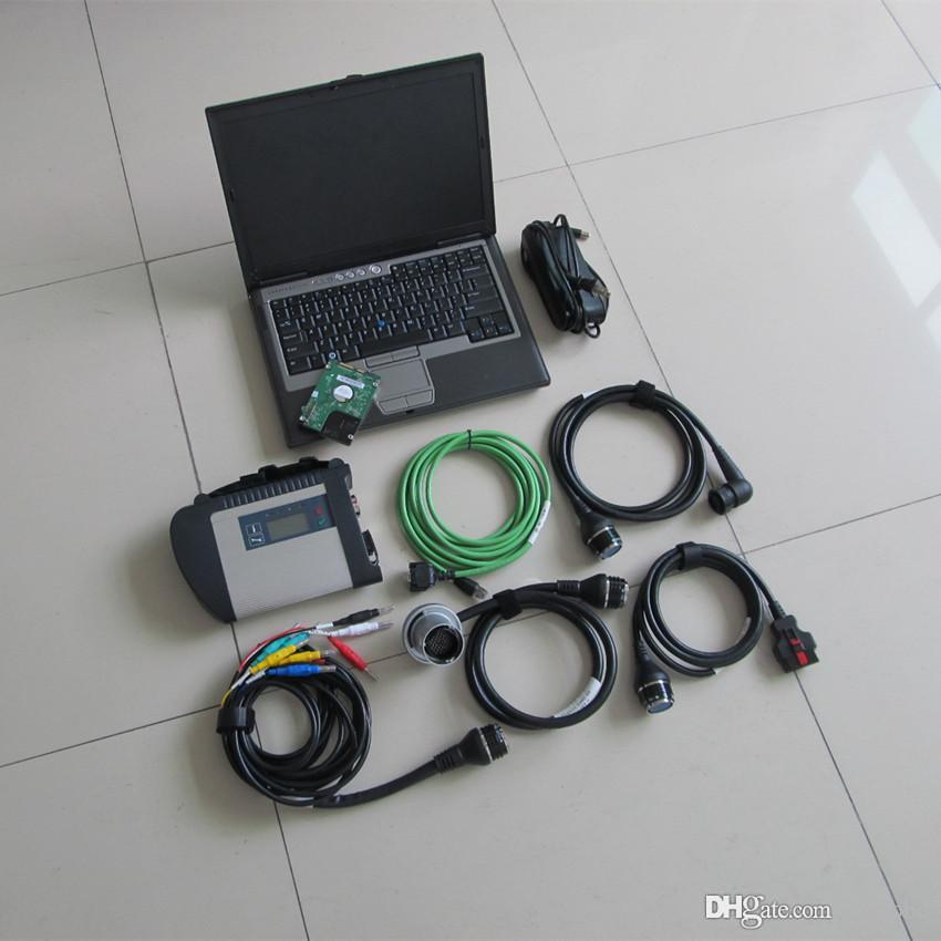 mb c4 sd estrela conectar com a Dell D630 laptop de segunda mão com 320GB HDD conjunto completo pronto para uso diagnóstico