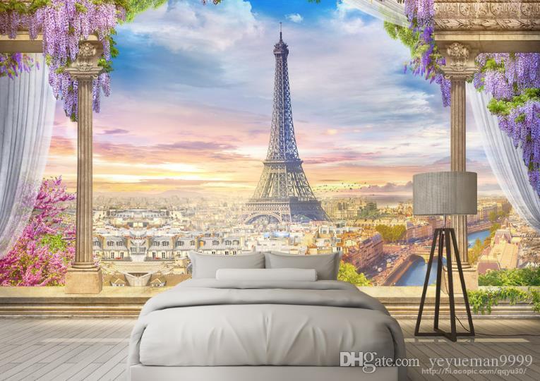 Papel tapiz fotográfico 3D personalizado Torre Eiffel papel tapiz para paredes Sala de estar 3 D Salón de belleza sofá TV telón de fondo papel tapiz 3d paredes