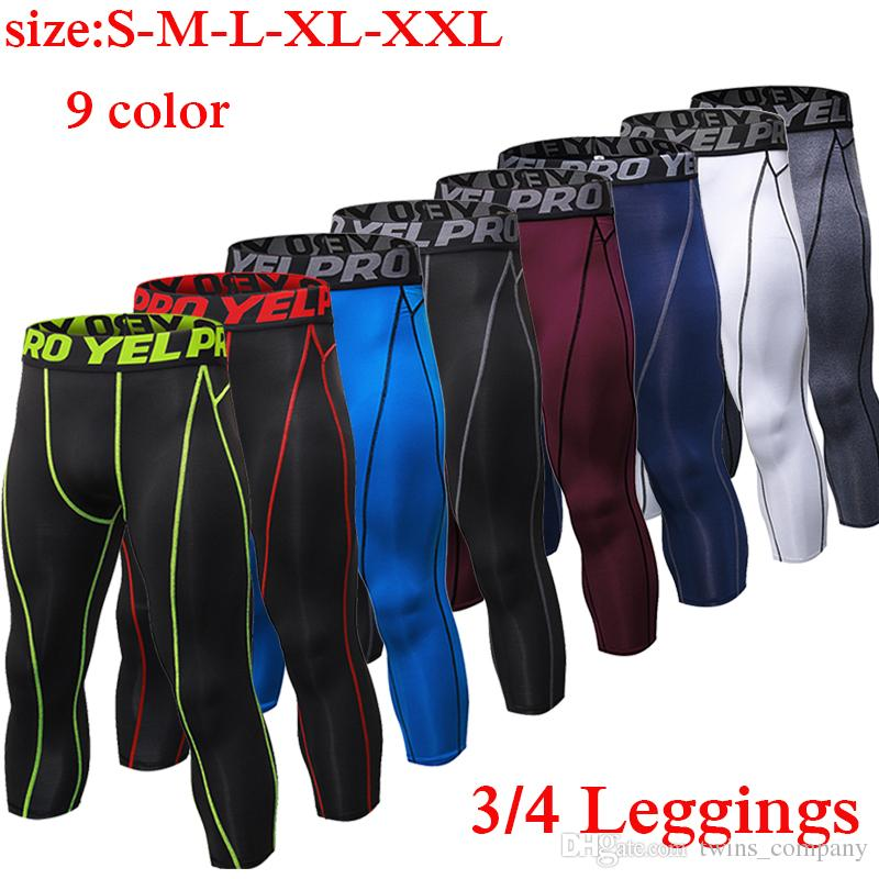 Mens Compression Tights 3/4 Pants Sports Tight Fitness Running Basketball Trouser Jogging Leggings Slim Fit Running Pants