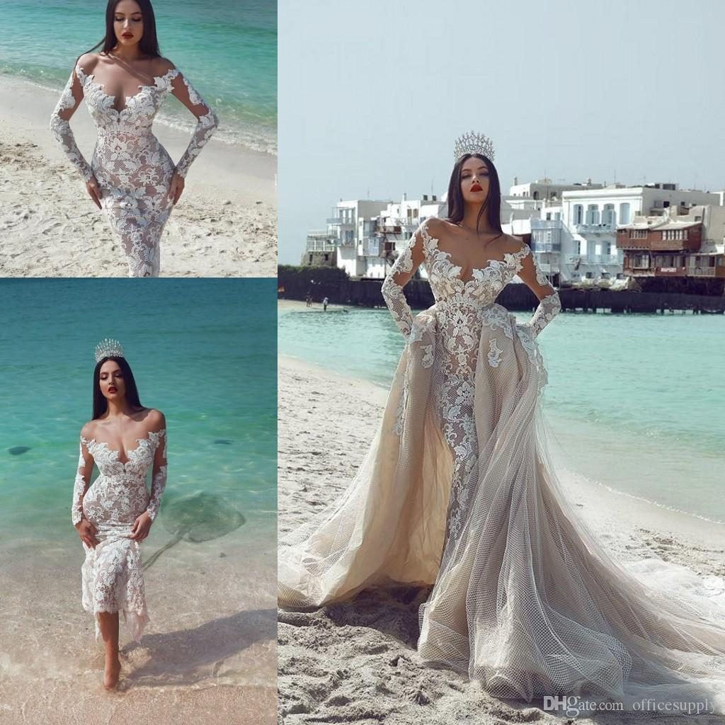 2019 디자이너가 Mhamad Mermaid 웨딩 드레스가 숄더 레이스 긴 소매 샴페인 신부 가운을 벗어냅니다.