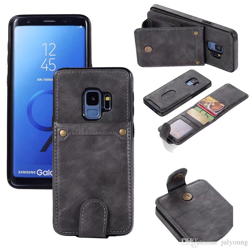 Detachable Removable Card Pocket Cases For Iphone XS MAX XR X 8 7 6 Galaxy Note 9 Note9 S9 S8 Wallet Leather Flip ID Slot Box Magnetic Cover
