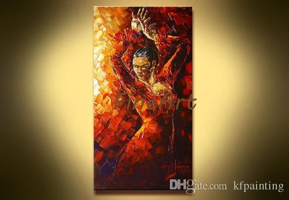 hand painted huge abstract art sale palette knife heavy texture flamenco dancer oil painting modern wall canvas arts oil paintings gallery a