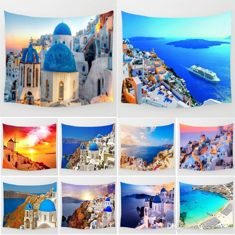 51x59 Inches Beautiful Sunset Santorini Island Aegean Sea Greece City Scenery Pattern Print Polyester Wall Hanging Tapestry Summer Beac