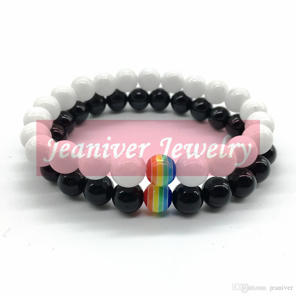 Jeaniver 2019 Nouveau Design Arc-En-Bracelet 7 Coloré Perle Bracelet Noir Onyx Blanc Shell Bracelet Livraison Gratuite