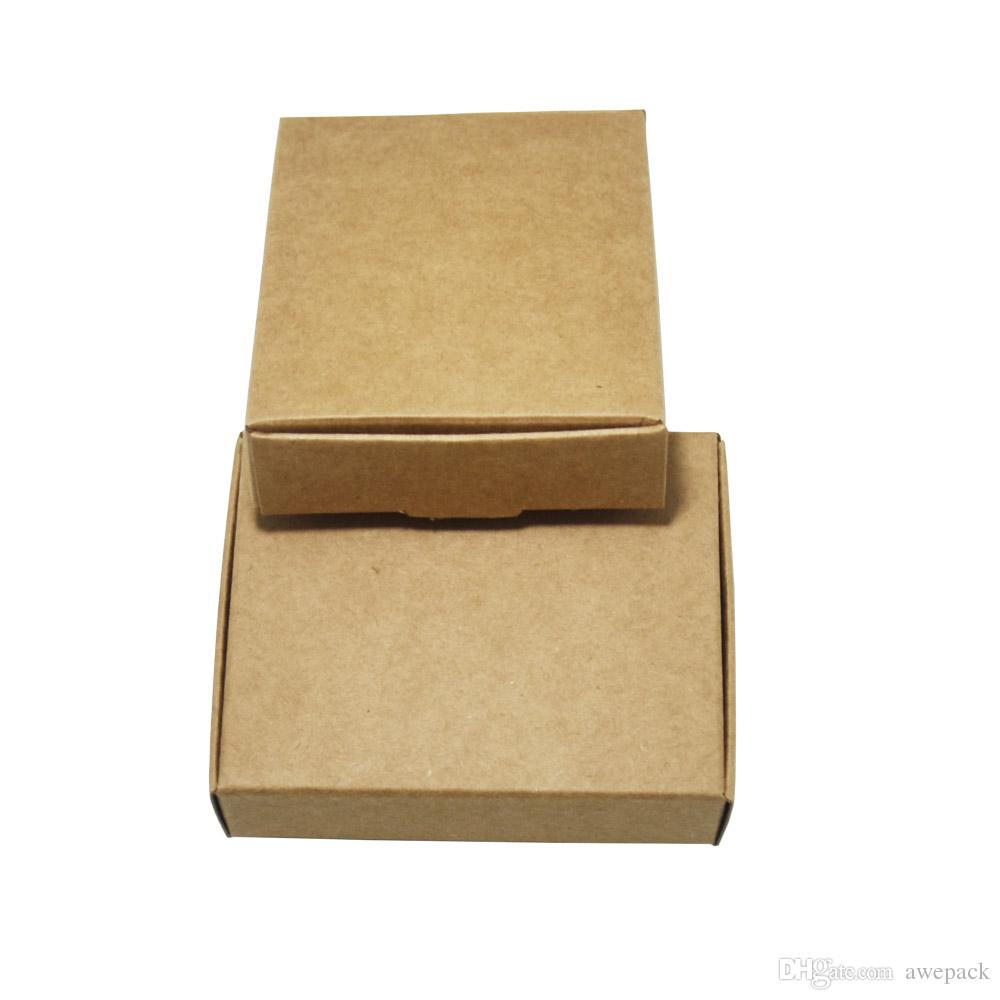 50 Pcs 8*6*2.2cm Christmas Candy Gift Jewelry Packaging Decoration Kraft Paper Boxes Brown Handmade Soap Chocolate Package Box