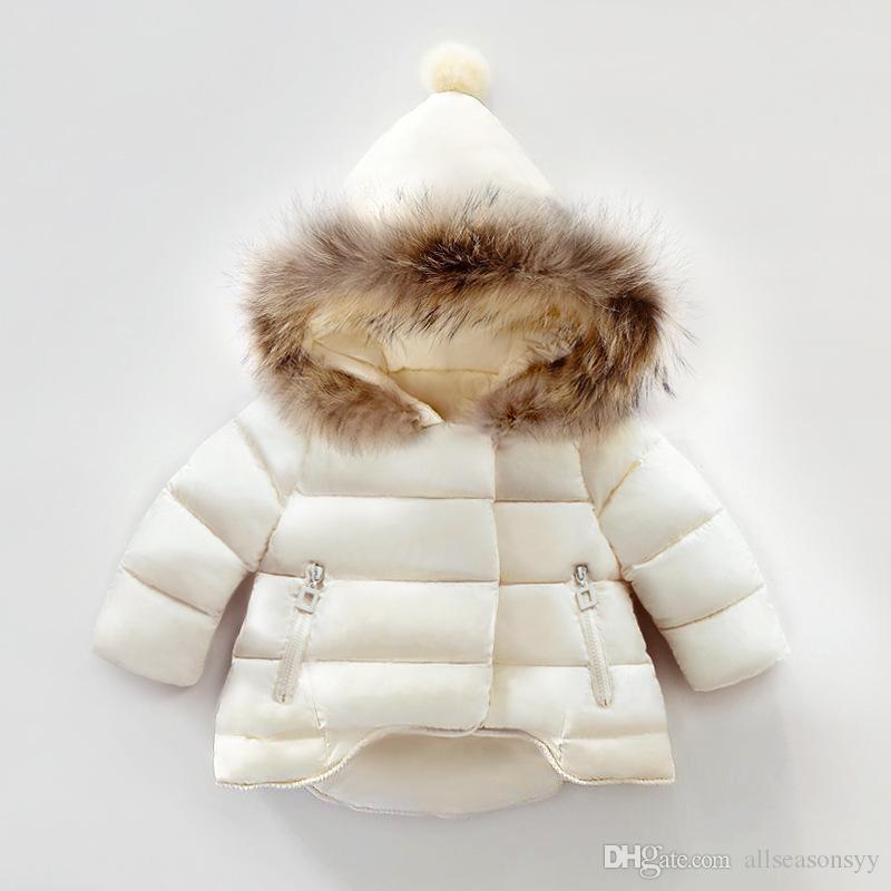 Niños traje de nieve de invierno bebé niñas abrigo de invierno para niños ropa de cuello de piel con capucha gruesa chaqueta bebé niña niño ropa