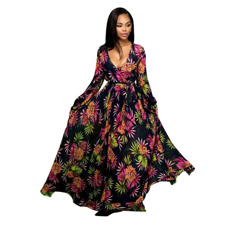 Tiefem V-ausschnitt Floral Frauen Langarm Chiffon Kleid Robe Weibliche Frauen Formale Partei Langes Kleid Runway Kleider Vestidos De Renda