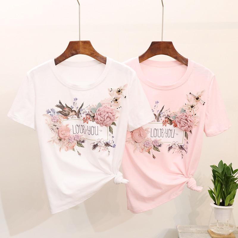 여름 패션 여성 T 셔츠 버드 꽃 자수 레이스 핑크 화이트 티셔츠 여성 탑스