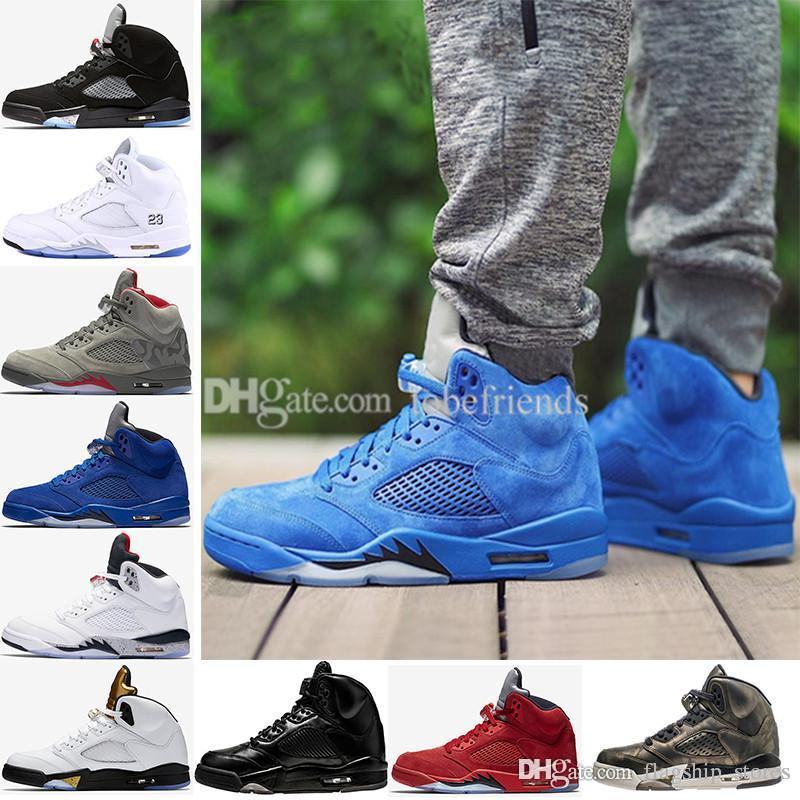 Premium Heiress Metallic Field 5 Mens Basketball Shoes 5S V Blue Red suede Olympic Cement white Bordeaux Triple Black Oreo Eur41-47 US8-13